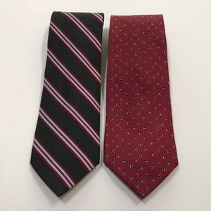 Silk Brooks Brothers men's neck ties - red black
